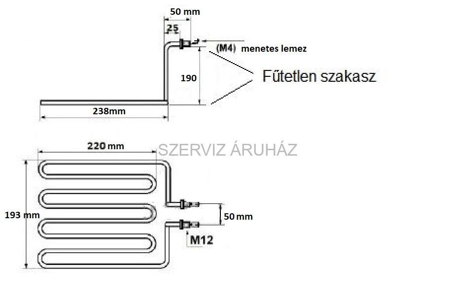Egyedi gyártású olajsütő fűtőbetét 3250W 230V